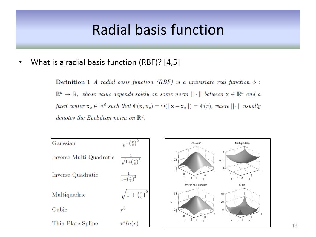 Radial basis function What is a radial basis function (RBF) [4,5]